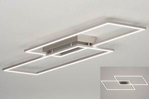 plafondlamp 13102 modern staal rvs geschuurd aluminium metaal aluminium staalgrijs langwerpig