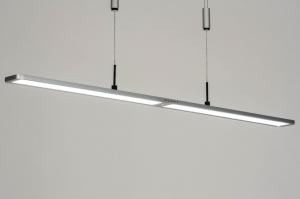hanglamp 13103 modern kunststof metaal zilvergrijs chroom langwerpig