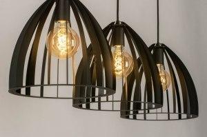 hanglamp 13124 industrie look modern metaal zwart mat langwerpig