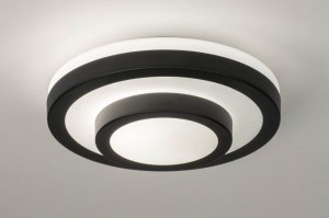 plafondlamp 13138 modern glas wit opaalglas metaal zwart mat wit mat rond