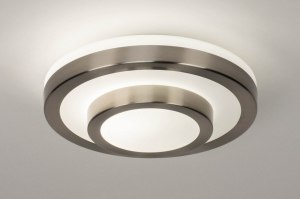 plafondlamp 13139 modern glas wit opaalglas staal rvs metaal wit mat staalgrijs rond