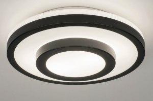 plafondlamp 13140 modern glas wit opaalglas metaal zwart mat wit mat rond