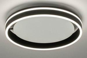 plafondlamp 13146 modern metaal zwart mat wit mat rond