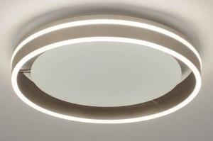 plafondlamp 13147 modern staal rvs metaal wit mat staalgrijs rond