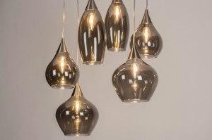 Pendelleuchte 13152 modern Glas Edelstahl Metall grau braun rund