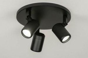 plafondlamp 13160 modern metaal zwart mat rond