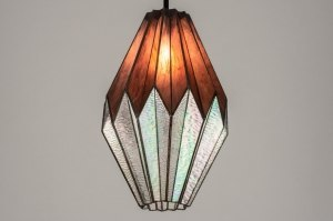 Pendelleuchte 13167 Klassisch zeitgemaess klassisch Art deco Glas Blei Metall schwarz orange mehrfarbig