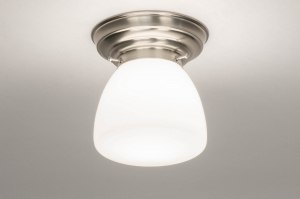 plafondlamp 13172 modern eigentijds klassiek art deco glas wit opaalglas staal rvs wit staalgrijs rond