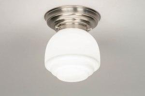 plafondlamp 13173 modern eigentijds klassiek art deco glas wit opaalglas staal rvs wit staalgrijs rond