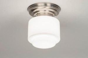 plafondlamp 13174 modern eigentijds klassiek art deco glas wit opaalglas staal rvs wit staalgrijs rond