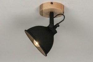 Spot 13192 Industrielook laendlich rustikal modern Holz helles Holz Metall schwarz matt rund