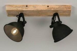 spot 13193 industrie look landelijk rustiek modern hout licht hout metaal zwart mat rond