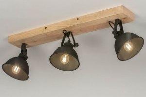 spot 13194 industrie look landelijk rustiek modern hout licht hout metaal zwart mat rond
