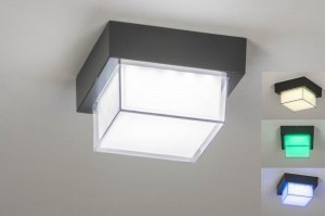 plafondlamp 13197 sale modern aluminium kunststof antraciet donkergrijs vierkant