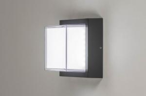 plafondlamp 13197 modern aluminium kunststof antraciet donkergrijs vierkant