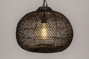 hanglamp 13212 modern retro riet zwart mat rond