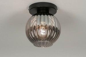 plafondlamp 13216 modern retro eigentijds klassiek art deco glas metaal zwart mat grijs rond