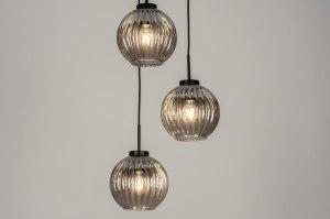 Pendelleuchte 13217 modern Retro Art deco Glas Metall schwarz matt grau rund