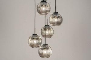 hanglamp 13218 modern retro art deco glas metaal zwart mat grijs rond