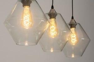 hanglamp 13241 modern glas helder glas staal rvs staalgrijs transparant kleurloos langwerpig
