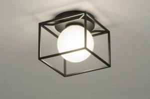 plafondlamp 13243 industrie look modern glas wit opaalglas metaal zwart mat vierkant