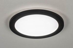 plafondlamp 13247 modern kunststof metaal zwart mat rond