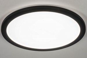 plafondlamp 13248 modern kunststof metaal zwart mat rond