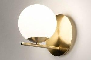 wandlamp 13256 modern retro eigentijds klassiek art deco glas wit opaalglas messing geschuurd wit mat goud messing rond