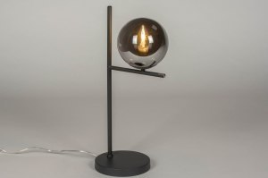tafellamp 13261 modern retro art deco glas metaal grijs antraciet donkergrijs rond