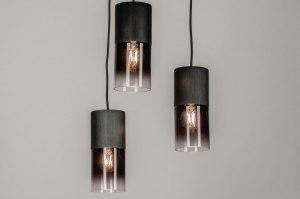 hanglamp 13262 modern retro art deco glas aluminium metaal zwart mat rond