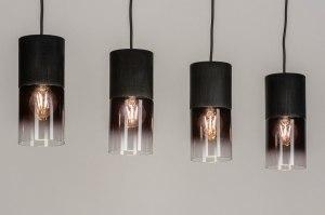 hanglamp 13263 modern retro art deco glas aluminium geschuurd aluminium metaal zwart mat langwerpig