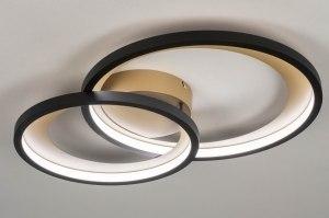 plafondlamp 13264 modern retro metaal zwart mat goud rond