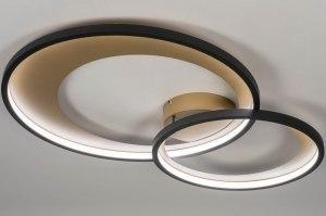 Deckenleuchte 13265 modern Retro Metall schwarz matt Gold rund