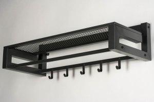 kapstok 13302 industrie look modern stoer raw metaal antraciet donkergrijs langwerpig rechthoekig