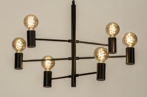 hanglamp 13317 industrie look modern stoer raw retro eigentijds klassiek art deco metaal zwart mat rond