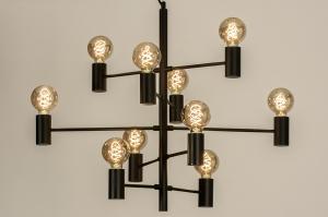 hanglamp 13318 industrie look modern stoer raw retro eigentijds klassiek art deco metaal zwart mat rond