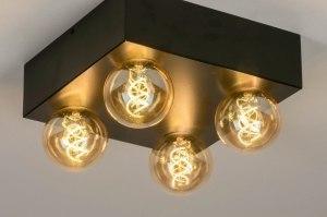 plafondlamp 13319 industrie look modern retro art deco metaal zwart mat vierkant