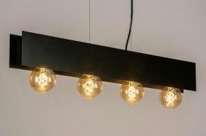 hanglamp 13320 industrie look design modern metaal zwart mat langwerpig rechthoekig