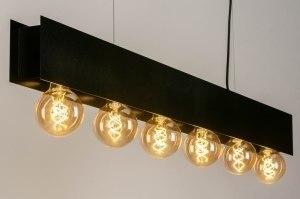 hanglamp 13321 industrie look design modern metaal zwart mat langwerpig rechthoekig