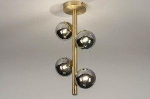 Deckenleuchte 13323 modern Retro zeitgemaess klassisch Art deco Glas Messing gebuerstet Metall Gold Matt Messing laenglich