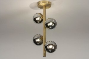 plafondlamp 13323 modern retro eigentijds klassiek art deco glas messing geschuurd metaal goud messing langwerpig
