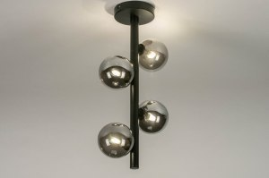 plafondlamp 13324 modern retro eigentijds klassiek art deco glas metaal zwart mat langwerpig
