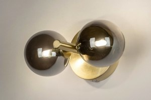 Wandleuchte 13325 modern Retro zeitgemaess klassisch Art deco Glas Messing gebuerstet Metall Gold Matt Messing rund