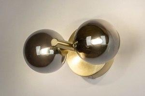 wandlamp 13325 modern retro eigentijds klassiek art deco glas messing geschuurd metaal goud mat messing rond