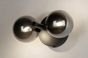wandlamp 13326 modern retro eigentijds klassiek art deco glas metaal zwart mat rond