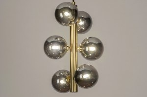 Pendelleuchte 13327 modern Retro zeitgemaess klassisch Art deco Glas Messing gebuerstet Metall grau Gold Matt Messing rund laenglich