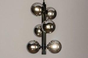 hanglamp 13328 modern retro art deco glas metaal zwart mat grijs rond langwerpig