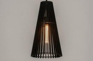 hanglamp 13329 modern hout zwart mat langwerpig