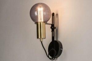 wandlamp 13332 modern eigentijds klassiek art deco messing geschuurd metaal zwart mat goud messing rond