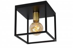 plafondlamp 13335 modern retro art deco metaal zwart mat goud messing vierkant